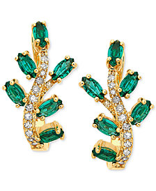 Emerald (1 ct. t.w.) & Diamond (1/8 ct. tw.) Stud Earrings in 14k Gold