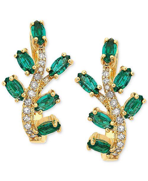 Macy's Emerald (1 ct. t.w.) & Diamond (1/8 ct. tw.) Stud Earrings in 14k Gold