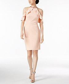 Calvin Klein Ruffle Cold-Shoulder Halter Dress