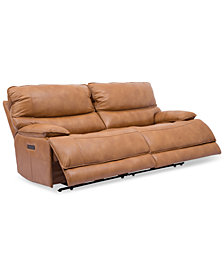 "CLOSEOUT! Woodyn 90"" 2-Pc. Leather Power Reclining Sofa With 2 Power Recliners, Power Headrests, Lumbar And USB Power Outlet"
