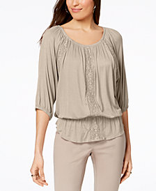 Style & Co Petite Off-The-Shoulder Peplum Top, Created for Macy's