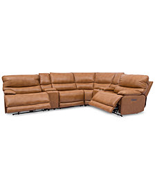 Woodyn 6-Pc. Leather Sectional Sofa With 2 Power Recliners, Power Headrests, Lumbar, 2 Consoles And USB Power Outlet