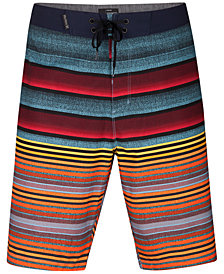 Hurley Men's Phantom Blackball Orange Street Variegated-Stripe Boardshorts