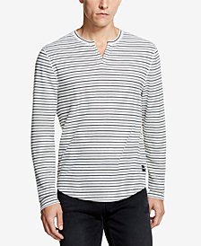 DKNY Men's Waffle-Knit Striped Split-Neck T-Shirt, Created for Macy's