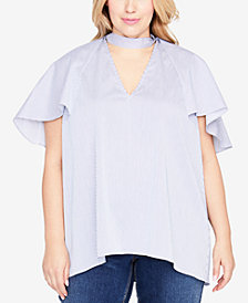 RACHEL Rachel Roy Trendy Plus Size Ruffled Choker Top