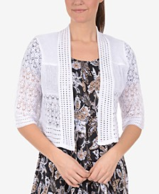 Pointelle-Knit Cropped Cardigan