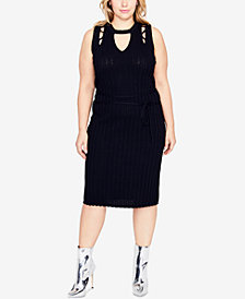 RACHEL Rachel Roy Trendy Plus Size Cutout Sweater Dress