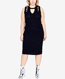 RACHEL Rachel Roy Trendy Plus Size Cutout Sweater Dress