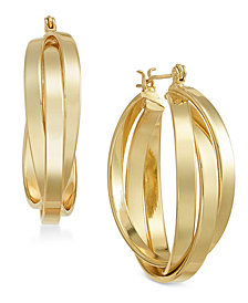 Essentials Medium Gold Plated Multi-Ring Interlocked Hoop Earrings