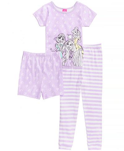 Disney's® Princesses 3-Pc. Cotton Pajama Set, Little Girls & Big Girls, Created for Macy's