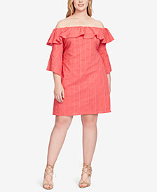 Jessica Simpson Trendy Plus Size Off-The-Shoulder Shift Dress