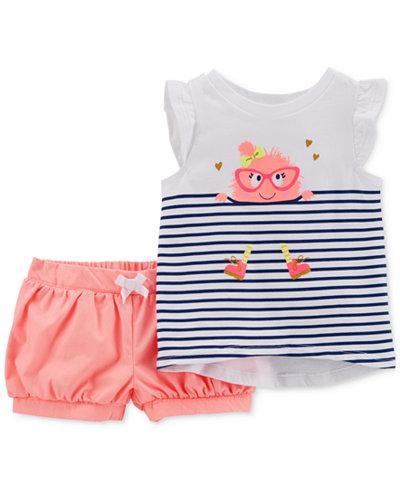 Carter's 2-Pc. Monster-Print T-Shirt & Shorts Set, Toddler Girls