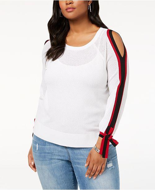 2848fad9769 ... INC International Concepts I.N.C. Plus Size Stripe-Trim Cold-Shoulder  Top