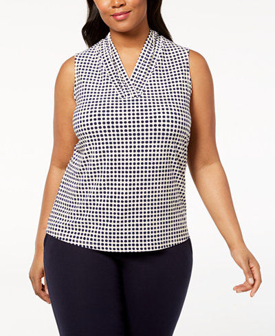Anne Klein Plus Size Pleated V-Neck Top