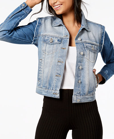 Crave Fame by Almost Famous Juniors' Raw-Edged Denim Jacket