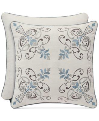 """Giovani White 18"""" Embroidered Square Decorative Pillow"""