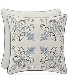 "J Queen New York Giovani White 18"" Embroidered Square Decorative Pillow"