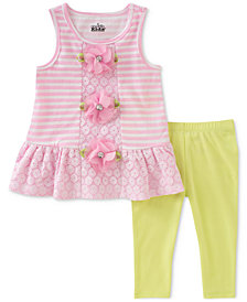 Kids Headquarters 2-Pc. Striped Tunic & Capri Leggings Set, Little Girls
