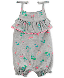 Carter's Printed Tie-Shoulder Cotton Romper, Baby Girls