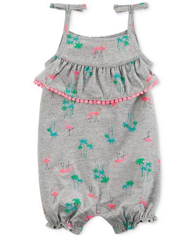 Carter's Printed Tie-Shoulder Cotton Romper, Baby Girls