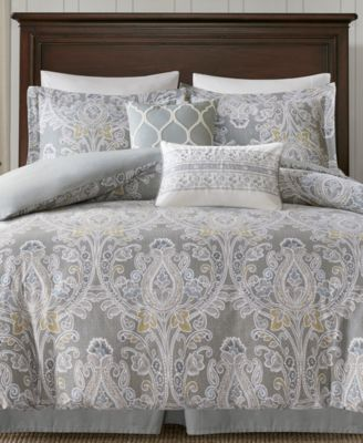 Transform Any Room Into An Elegant Space With The Hallie Bedding Collection  From Harbor House, Featuring A Soothing Gray Ground With Damask Patterns  For ...
