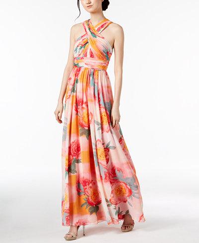 Calvin Klein Tropical Chiffon Crisscross Halter Gown