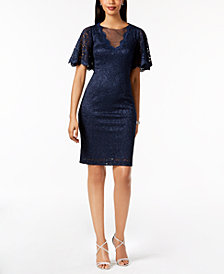 Jessica Howard Glitter-Lace Illusion Dress