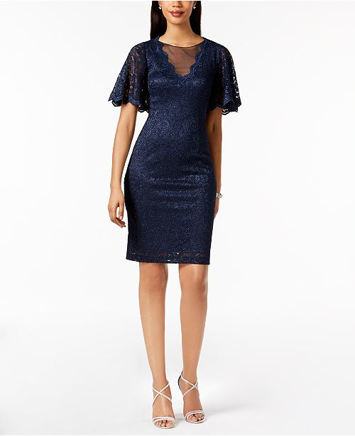 Dress Illusion Lace Howard Glitter Navy Jessica x7tIqTn