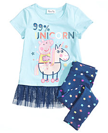 Nickelodeon's® Peppa Pig 2-Pc. Unicorn Top & Leggings Set, Little Girls