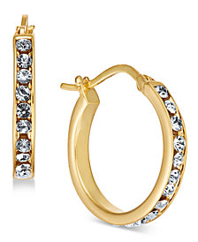 Essentials Small Silver Plated Crystal Hoop Earrings