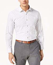 Alfani Men's Slim-Fit Stretch Cube Print Dress Shirt, Created for Macy's