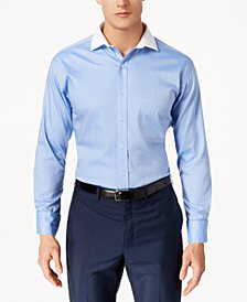 Tasso Elba Men's Classic/Regular Fit Non-Iron Fine Herringbone French Cuff Dress Shirt, Created for Macy's