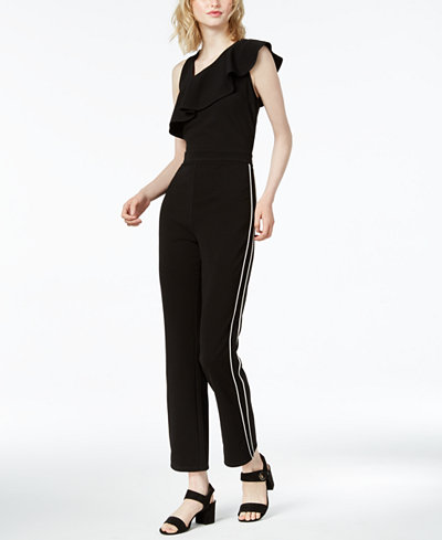 Bar III Ruffle Varsity-Stripe Jumpsuit, Created for Macy's