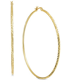 Essentials Extra Large Gold Plated Textured Hoop Earrings