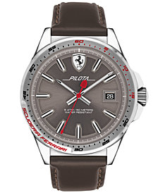 Ferrari Men's Pilota Brown Leather Strap Watch 45mm