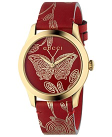 Women's Swiss G-Timeless Red Hibiscus Ramage Leather Strap Watch 38mm