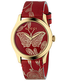 Gucci Women's Swiss G-Timeless Red Hibiscus Ramage Leather Strap Watch 38mm
