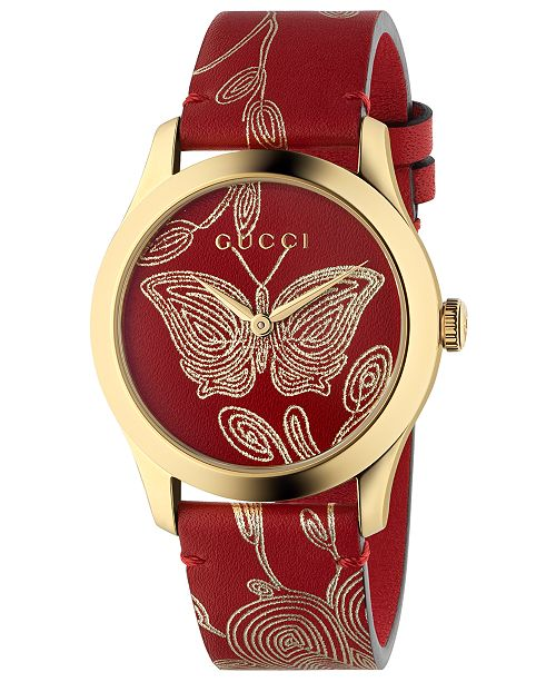c1a66b6872d ... Gucci Women s Swiss G-Timeless Red Hibiscus Ramage Leather Strap Watch  ...