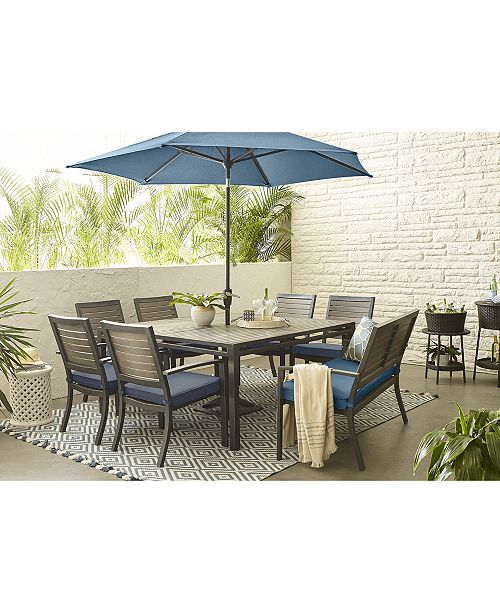 Furniture Harlough Ii 8 Pc Outdoor Dining Set 62 Square Table 6 Chairs And 1 Bench With Sunbrella Cushions Created For Macy S
