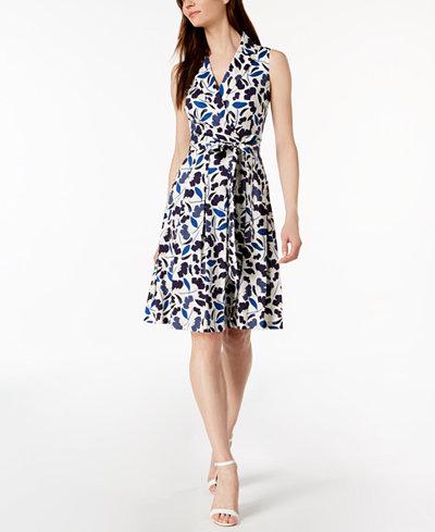 Anne Klein Floral Sateen Pleated Wrap Dress