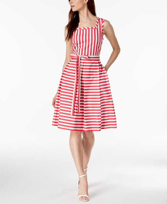 Anne Klein Striped Fit & Flare Dress