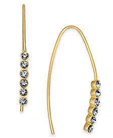 Essentials Small Gold Plated Crystal Threader Earrings