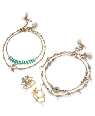 Gold-Tone 2-Pc. Set Crystal, Bead & Tassel Anklets, Created for Macy's