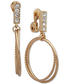 Anne Klein Crystal & Double-Hoop E-Z Comfort Clip-On Drop Earrings