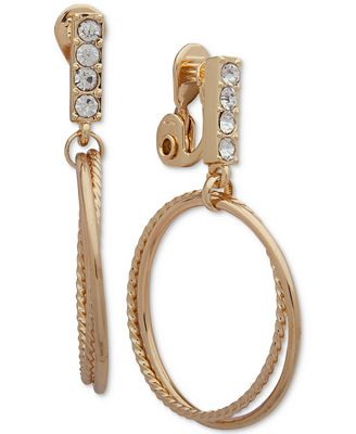 Anne Klein Crystal Double Hoop E Z Comfort Clip On Drop Earrings