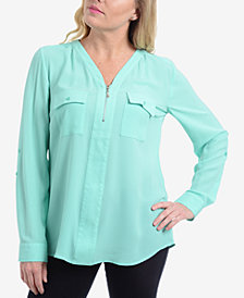NY Collection Zip-Neck Roll-Tab Top