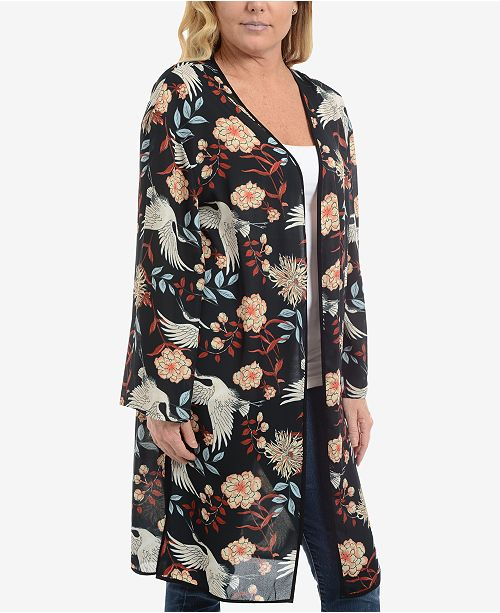 97c4df0c2 NY Collection Open-Front Printed Kimono Cardigan & Reviews ...