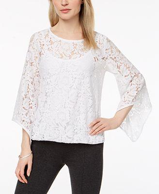 Alfani Lace Bubble Top Created For Macy S Tops Women Macy S