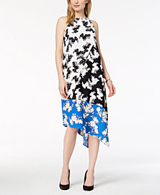 Alfani Petite Colorblocked-Print Asymmetrical Dress, Created for Macy's