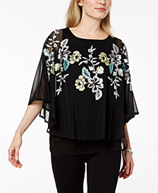 Alfani Petite Embroidered Cape-Sleeve Top, Created for Macy's